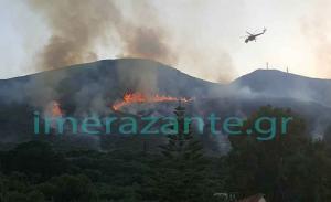 Φωτιά στη Ζάκυνθο: Πηγαίνουν ενισχύσεις από όλη την Ελλάδα! Δυναμώνει ο αέρας