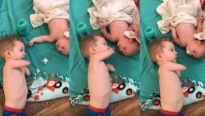 Μωρό χωρίς άκρα βοηθά τον μικρό αδερφό του