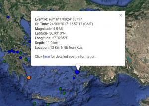Σεισμός στην Κω – Ταρακουνήθηκε το νησί