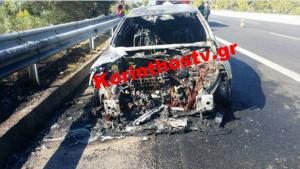 Αυτοκίνητο λαμπάδιασε εν κινήσει στην Αθηνών – Κορίνθου! [pics]