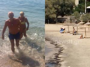 """Οι """"τολμηροί"""" και οι φοβισμένοι! Αγνοούν την απαγόρευση για κολύμβηση στο Σαρωνικό! Κομμάτια πίσσας έφτασαν ως τη Σαρωνίδα"""
