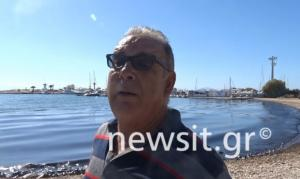 Ψαράς για τη θαλάσσια ρύπανση