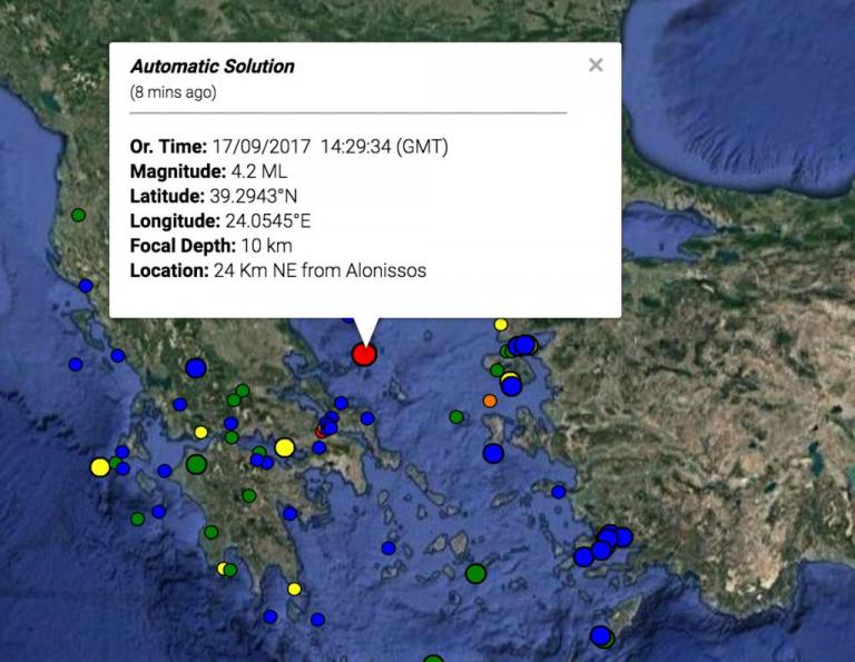 Σεισμός 4,2 Ρίχτερ ανοιχτά της Αλοννήσου
