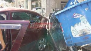 Πάτρα: Ταξί συνέθλιψε σιδερένιο κάδο σκουπιδιών μετά από τροχαίο! [pics]