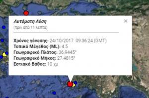 Σεισμός τώρα στα Δωδεκάνησα – 4,5 Ρίχτερ ταρακούνησαν την Κω!