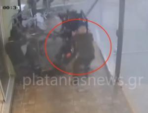 Χανιά: Η στιγμή που ανεμοστρόβιλος χτυπάει κατάστημα στο Μάλεμε – Απίστευτες σκηνές στην κάμερα [vid]