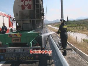 Εικόνες από το φλεγόμενο βυτιοφόρο στην εθνική οδό Κορίνθου – Πατρών [vid]