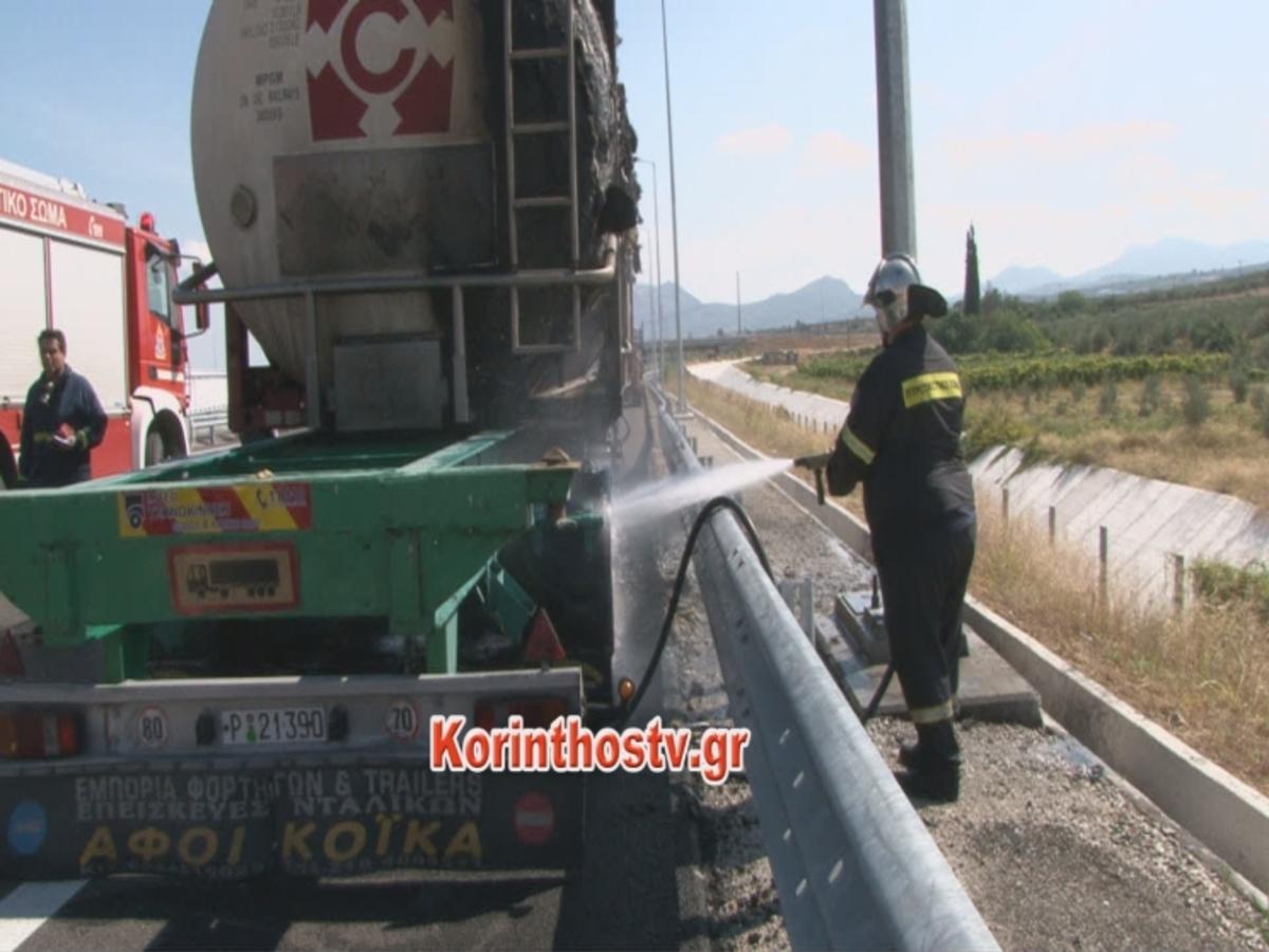Εικόνες από το φλεγόμενο βυτιοφόρο στην εθνική οδό Κορίνθου – Πατρών [vid] | Newsit.gr
