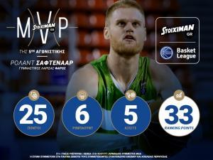 O Ρόλαντ Σάφτενααρ STOIXIMAN.GR MVP της 5ης αγωνιστικής