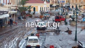 Σύμη: Συγκλονιστικές εικόνες καταστροφής – Η κακοκαιρία διέλυσε το νησί και κατάπιε περιουσίες – Το σαρωτικό πέρασμα της Ευρυδίκης [pics, vids]