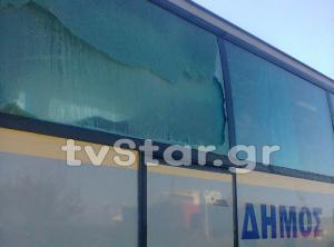 Θήβα: Νέα επίθεση στη γέφυρα του τρόμου – Διέλυσαν το πούλμαν με πέτρες – Ασύλληπτοι οι δράστες [pics, vid]