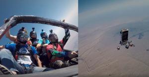 Τολμηροί νέοι κάνουν skydiving από αυτοκίνητο