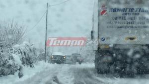 Απεγκλωβίστηκαν οι οδηγοί από την Πούντα Καλαβρύτων – Πυκνή χιονόπτωση στην περιοχή – Απαγόρευση κυκλοφορίας φορτηγών