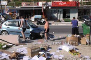 Χανιά: Απίθανο τροχαίο με την οδηγό να καταλήγει στα σκουπίδια – Αυτοψία στο σημείο [pic, vid]