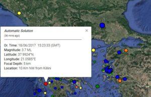 Σεισμός 3,7 Ρίχτερ κοντά στην Κυλλήνη