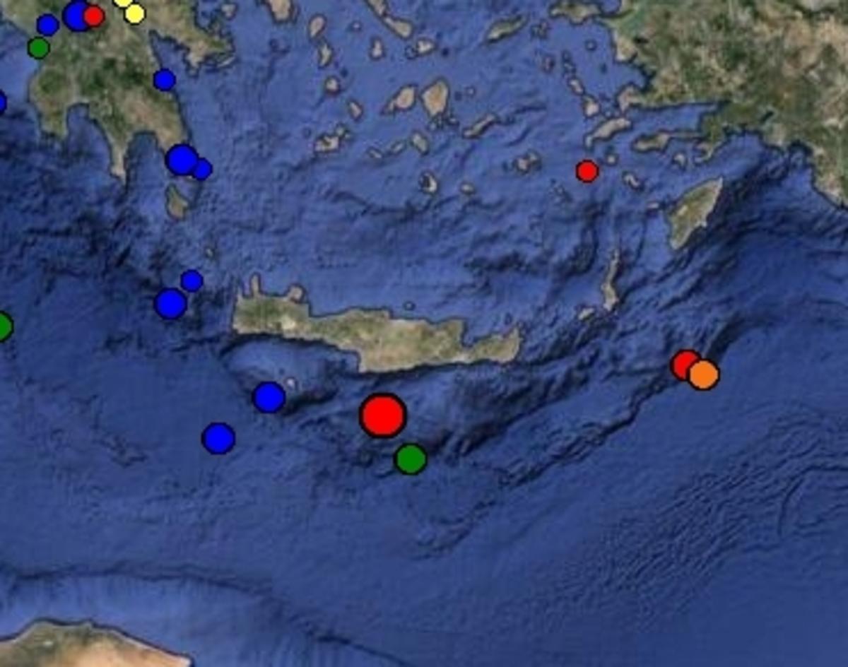 Το επίκεντρο του σεισμού νότια του Ηρακλείου - ΦΩΤΟ από Γεωδυναμικό Ινστιτούτο