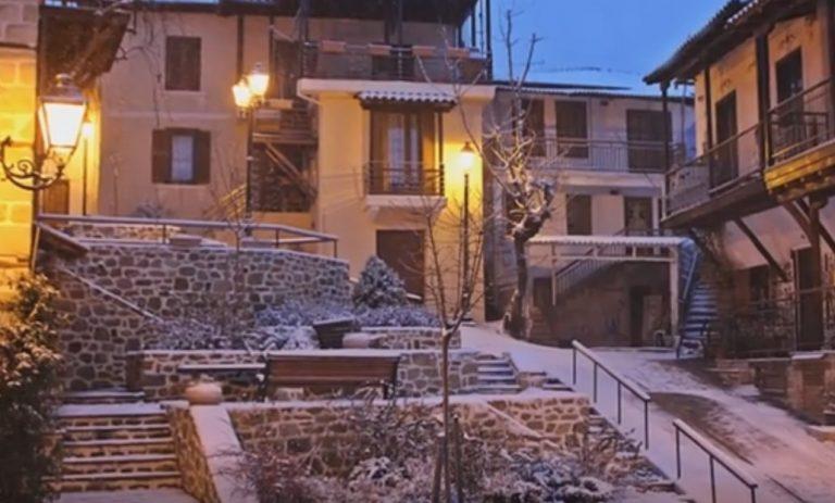 Καιρός: Πανέμορφες εικόνες από τη χιονισμένη Αρναία Χαλκιδικής – Δείτε το βίντεο!