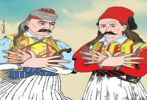Προκλητικό σκίτσο! Κολοκοτρώνης και Μπότσαρης σχηματίζουν τον αλβανικό αετό! [pic]