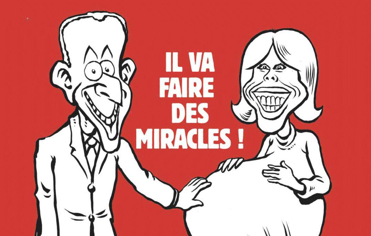 Κακόγουστο πρωτοσέλιδο από το Charlie Hebdo: Ο Μακρόν αφήνει έγκυο την Τρονιέ [pic]