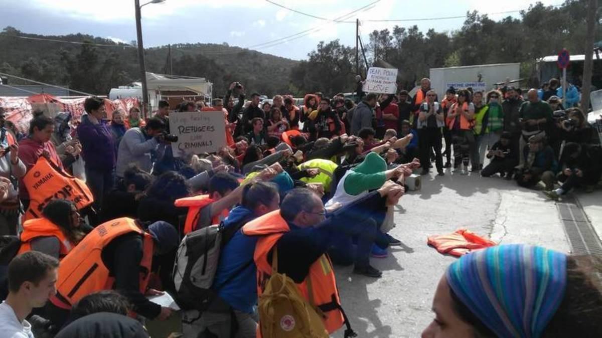 Από τη διαμαρτυρία στη Μόρια - ΦΩΤΟ από το LesvosPost