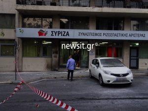 """Επίθεση """"μασκαράδων"""" με μολότοφ στα γραφεία του ΣΥΡΙΖΑ [pics]"""