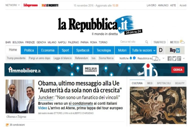 Ομπάμα: Πρώτο θέμα η επίσκεψή του στην La Repubblica [pic]