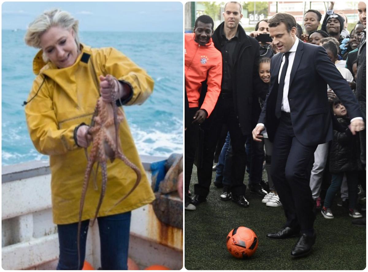 Γαλλικές εκλογές: Ψάρεμα η Λε Πεν, μπαλίτσα ο Μακρόν! [pics]
