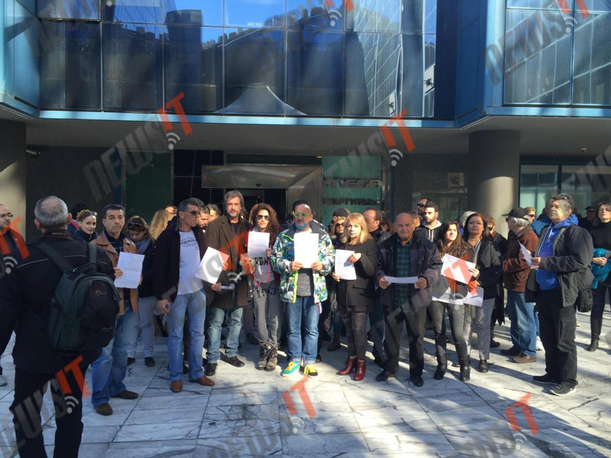 Συγκέντρωση διαμαρτυρίας απλήρωτων ηθοποιών στο Mega