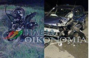 Σοβαρό τροχαίο στην Κυλλήνη – Εκσφενδονίστηκε οδηγός μηχανής! [pics]