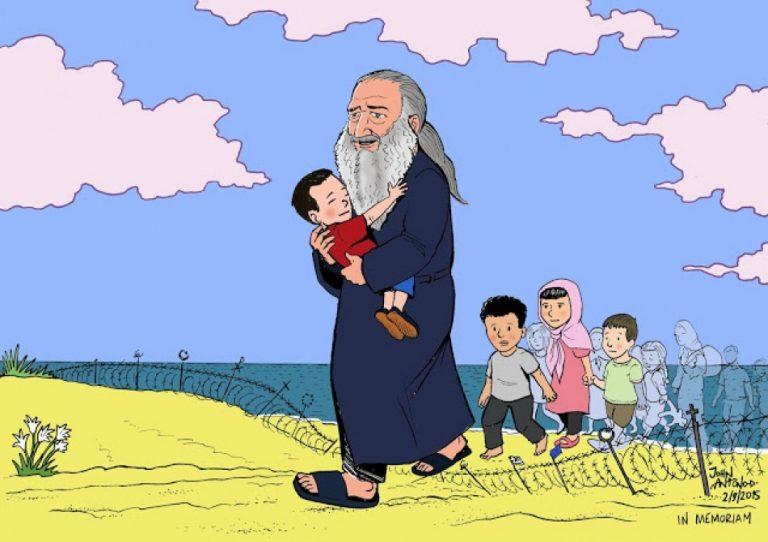 Ο μικρός Αϊλάν στην αγκαλιά του παπα – Στρατή! Το σκίτσο που συγκινεί