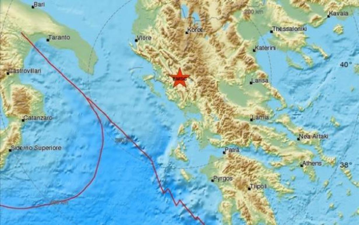Ο χάρτης του σεισμό από το Ευρωμεσογειακό Σεισμολογικό Κέντρο