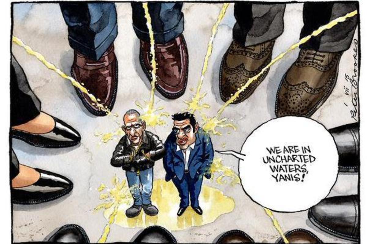 Times: Σοκαριστική γελοιογραφία με Βαρουφάκη και Τσίπρα