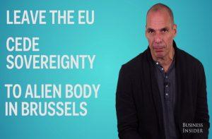 """Βαρουφάκης: """"Όχι"""" στο Brexit με Hotel California και… εξωγήινους στις Βρυξέλλες! (ΒΙΝΤΕΟ)"""