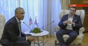 """Επίσκεψη Ομπάμα: Το χασμουρητό που… έπνιξε ο Τσίπρας μπροστά στον """"πλανητάρχη"""" [vid]"""