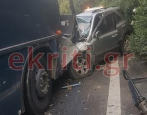 Κρήτη: Σοβαρό τροχαίο με λεωφορείο της αεροπορίας που συγκρούστηκε με τζιπ – Πέντε οι τραυματίες [pics]