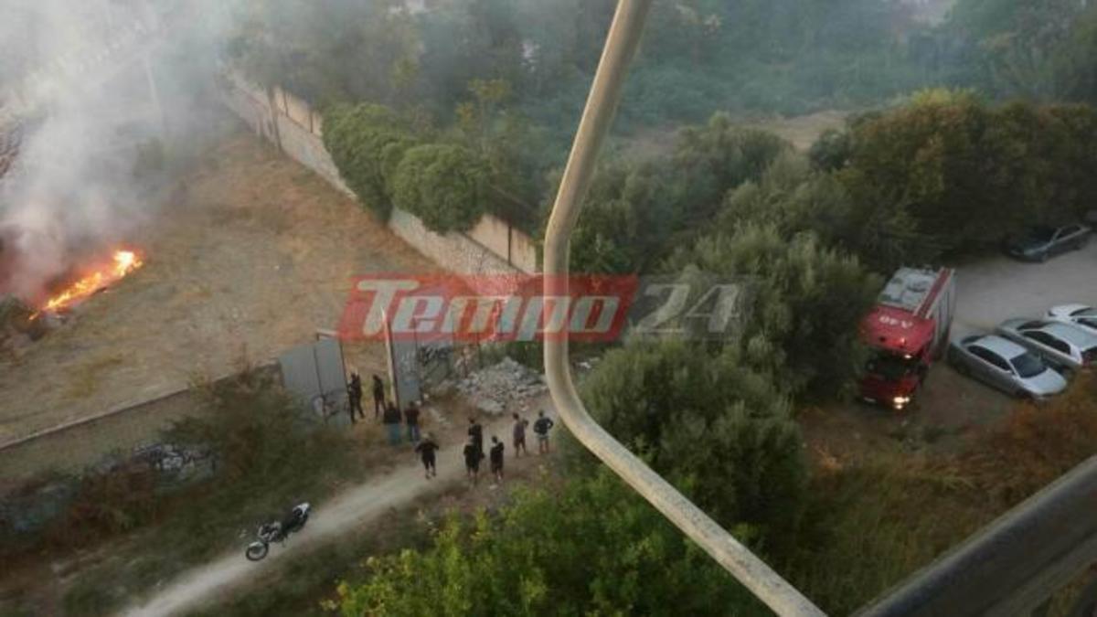 Φωτιά δίπλα στο γήπεδο της Παναχαϊκής, την ώρα του φιλικού με ΑΕΚ [vid]