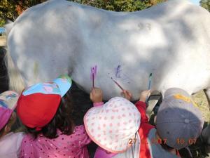 Αδιανόητο! Έβαλαν παιδιά να ζωγραφίσουν πάνω σε άλογα – Θύελλα αντιδράσεων για παιδικό σταθμό [pics]