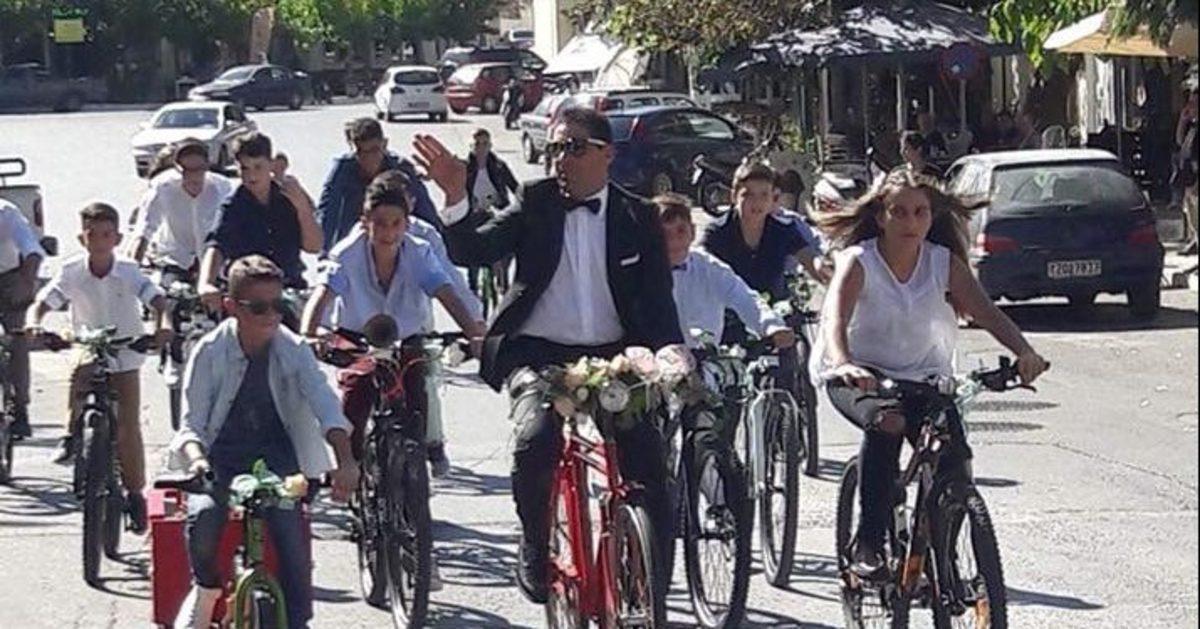 Γάμος… οικολογικός στην Κρήτη! Πήγαν στην εκκλησία με ποδήλατα [pics]