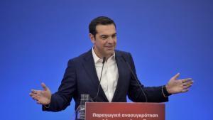 """Το """"ατύχημα"""" Τσίπρα κατά την ομιλία του στη Λάρισα – Γελούσαν οι υπουργοί [vid]"""