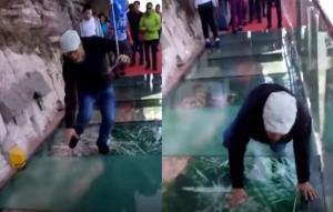 Τουρίστας φρικάρει όταν η γυάλινη γέφυρα σπάει και νομίζει ότι θα πέσει από τον γκρεμό