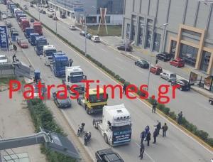 Πάτρα: Έκαναν πορεία με τα φορτηγά τους! [vids]