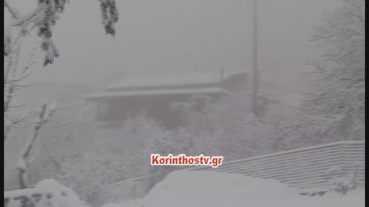 Ξεπέρασε τους 20 πόντους το χιόνι στην Καστανιά Κορινθίας [vid]