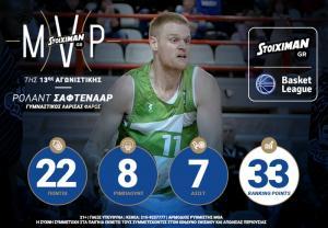 Ο Ρόλαντ Σάφτενααρ Stoiximan.gr MVP της 5ης αγωνιστικής