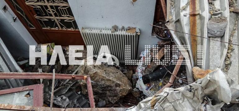 Βράχοι πλάκωσαν σπίτι στη Ζαχάρω! Τρομακτικές εικόνες! [pics] | Newsit.gr