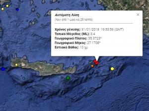 Σεισμός 3,4 Ρίχτερ στην Κάρπαθο