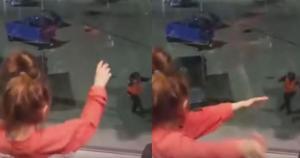 Εργαζόμενος αεροδρομίου είδε δύο κοριτσάκια να χορεύουν από το παράθυρο – Τα εντυπωσίασε με τις χορευτικές του φιγούρες