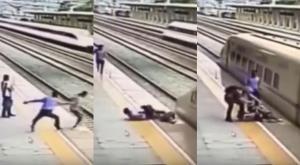 Αστυνομικός σώζει γυναίκα που πετάγεται να πέσει πάνω στο τρένο