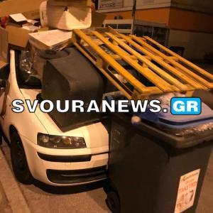 Καστοριά: Έκαναν το παρκαρισμένο αυτοκίνητο κάδο σκουπιδιών – Οι εικόνες που πάγωσαν τον οδηγό [pics]