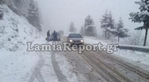 Χιονίζει στη Λαμία – Σε ποια σημεία χρειάζονται οι αλυσίδες