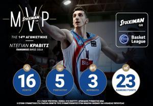 O Ντέγιαν Κράβιτς Stoiximan.gr MVP της 14ης Αγωνιστικής